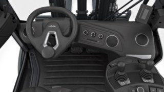 Cockpit des neuen Gabelstaplers - Lenkrad nicht mittig