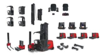 Explosionszeichnung des Schmalganggeräts K auf der verfügbare Varianten wichtiger Fahrzeugmodule abgebildet sind