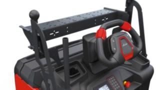 Der Kommissionierer V08 von Linde Material Handling mit höhenverstellbarem Lenkrad.
