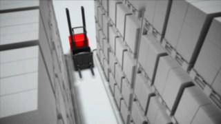Animation zum optional für den Vertikalkommissionierer V von Linde verfügbaren Gangsicherheitssystem.